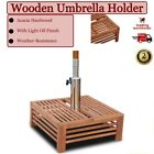 Garden Wooden Parasol Stand Base Small Umbrella Holder Table Wood Pool Outdoor