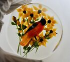 One Rick Ayotte 1986 LE 2 75 robin bird yellow flower compound paperweight 325