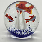 CONTROLLED BUBBLE AQUARIUM 3 FISH REEF ART GLASS PAPERWEIGHT