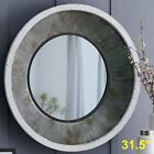 Farmhouse Rustic Accent Mirror Large Round Wall Decor Distressed Vanity Bathroom