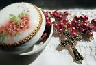 Gloss Rose Blush Glass Rosary with Round Lidded Hand Painted Porcelain Dish