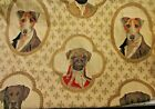 Large DOG PORTRAITS Upholstery Tapestry Woven Fabric 2 yards