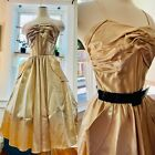 Vtg 50s 60s Pin Up Fit  Flair Shelf Bust Party Dress S 34 VLV Gold Satin