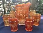 CARNIVAL BEAUTIFUL SIGNED NORTHWOOD MARIGOLD GRAPE  CABLE 7 PIECE WATER SET