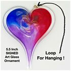 SIGNED Art Glass Heart  55 inch  Ornament  Gift  Romantic  Blue Red Purple