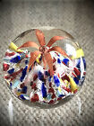 Antique MILLVILLE RED RAVENNA LILY FLOWER over RAINBOW Paperweight