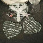 20 72 Heart Shaped Glass Coaster Set Of 2 Wedding Shower Party Favors