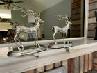 2 FRONTGATE Silverplated Reindeer STOCKING HOLDER Hanger Christmas decorarion