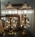 2 Vintage Brass Lamps Art Deco Revival Victorian style glass lampshades REDUCED