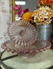 Set of 2 Graduated Pink Glass Ruffle Edge Cake Plates Valerie Parr Hill New