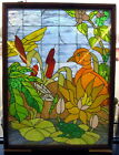 Antique Large 38x50 Stained Glass Leaded Window Scenic Pond Bird Frog Butterfly