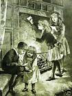 WRITING TO SANTA CLAUS 1883 Christmas Child Antique Engraving Art Print Matted