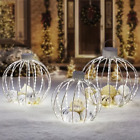 Christmas Pre Lit Twinkling Function Ornament Outdoor Decoration 3 PieceSilver