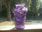 ANTIQUE AMETHYST GOOFUS GLASS SMALL 5 VASE EMB ROSES EARLY 1900 BEAUTIFUL VASE