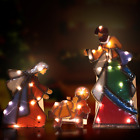 Nativity Christmas Scene Set Holy Family Lighted Indoor Outdoor Mosaic 3 Piece
