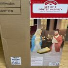 Blow Mold 3 Piece Outdoor Nativity Scene Holy Family with Lights Holiday New