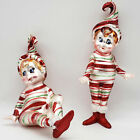 Pair of Candy Cane Glitter Striped Elf Glass Christmas ornaments
