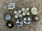 Vintage Cut Crystal Buttons MOP one And Rhinestone