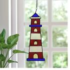 Stained Glass Nautical Lighthouse Window Panel Red Hanging Light Art Decoration