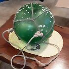 Vintage Green Glass Japanese 12 inch Large Fishing Boat Ball Float Buoy w net