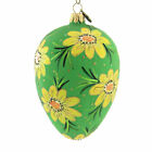Blu Bom Egg W Yellow Spring Flowers Glass Ornament Easter Floral Spring 18023