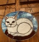 STAINED GLASS CAT SUNCATCHER VINTAGE LARGE