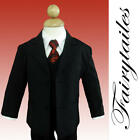 New 5 piece boy formal suit set Black W Red Tie Size 4T