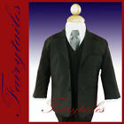 New 5 piece Boy Formal Tuxedo Suit Black Silver Tie 14