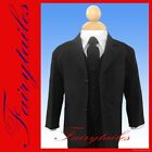 Brand New 5 piece boy formal tuxedo suit set Black 4T