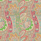 COTTON GLOSSY SATIN WEAVE CLOTHES BEDDING COVER FABRIC ANTIQUE PAISLEY RED 44W