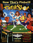 BREAKSHOT Original PROMO Pinball Flyer CAPCAM 1996 MINT Ad Slick Brochure
