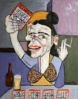 BINGO LADY ORIGINAL PAINTING WOMAN DRINKING SMOKING CUBIST ANTHONY FALBO