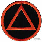 ALCOHOLICS ANONYMOUS iron on EMBROIDERED PATCH AA black orange SOBRIETY LOGO
