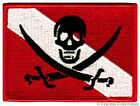 SCUBA DIVING PIRATE FLAG PATCH iron on JOLLY ROGER embroidered DIVER DOWN SKULL