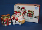 Fitz and Floyd Plaid Christmas Snowman Salt and Pepper - #2063/127-MC