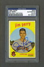 Jim Perry signed Indians 1959 Topps Rookie card Psa-Dna