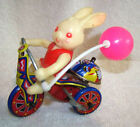 Bunny TIN WIND-UP TRICYCLE-Bell ringing-Korea Toy works