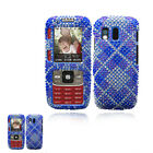 BOOST SPRINT SAMSUNG RANT SPH-M540 BLUE PLAID DIAMOND BLING BLING CASE COVER