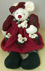 HUGE VINTAGE PLUSH WHITE MOUSE MOM in SOFT CHRISTMAS DRESS with
