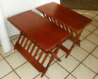 Pair Heywood Wakefield Cherry Magazine Rack End Tables Side Tables  (T277)