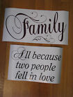 Vinyl Wall Decal Stickers Words FAMILY ALL BECAUSE TWO PEOPLE FELL IN LOVE