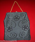VINTAGE BEADED SATIN PURSE WITH CHAIN 1950'S WITH FLORAL DESIGN MINT CONDITION