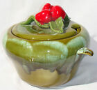 GREEN LIDDED SOUP TUREEN STRAWBERRY & LEAF LID DECOR DRIP GLAZE MARKED USA 895