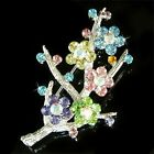 Rainbow Floral Pastel made with Swarovski Crystal FLOWER BOUQUET Pin Brooch New