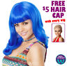 DELUXE KATY PERRY WIG Teenage Dream Long Blue Womens Fancy Dress Costume Party