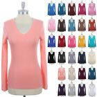 Womens Casual Solid Plain Cotton V Neck Long Sleeve Tee Shirt Top Spandex S M L