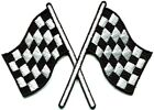 Checkered flag chequered auto car racing rockabilly applique iron on patch S 601