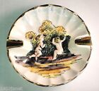 Capodimonte Porcelain Ashtray Gold Fluted Edge Handpainted Classic Embossed Art