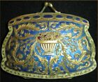 ANTIQUE-STUNNING! & RARE ITALIAN ENAMEL & JEWELED POWDER COMPACT FORM OF A PURSE
