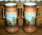 Pair of 2 Handle Country Cottage Farm Scene Art Pottery Vases - Czechoslovakia